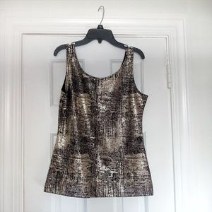 Silver and Black Scoop Neck Sleeveless Top Size M